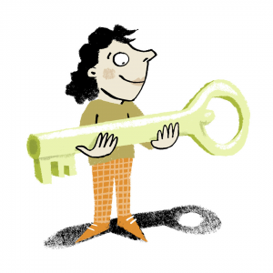 Illustration of a person happily holding an oversized key.