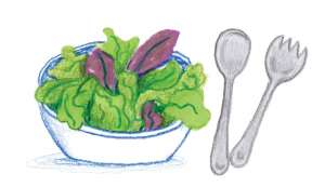 Illustration of a salad and cutlery.