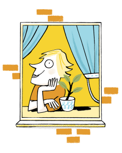 An illustration of someone looking out the window, with a sprouting pot plant next to them.